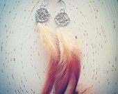 Silver moon Dreamcatcher Earrings with natural cruelty free feathers