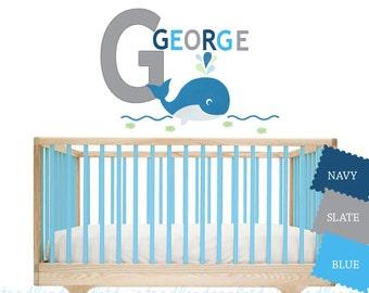Reusable Whale Fabric Decal - Initial Name Decal - Ocean Themed Room for Boys - Bathroom Stickers - Beach Art