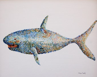Shark Original Abstract Contempory Pointillism Acrylic Painting by Tamyra Crossley.  16 x 20