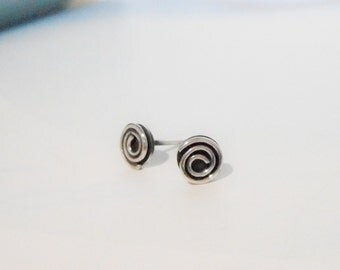Silver Rosy Spiral Post Earrings