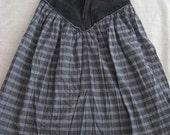 SUMMER SALE! 90s Denim waistband checkered grey black boho skirt Size small