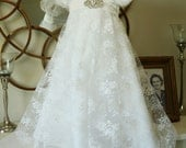 The Elizabeth Dress... Baptism Blessing Dress in Chantilly Lace with Broach