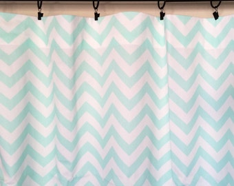 Mint Green Chevron Curtains. 25 or 50 Widths. 63, 84, 96, 108, 120 Lengths. Zig Zag Window Treatments.