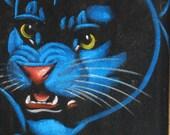 Black Cat Velvet Painting - Free Shipping - Framed Vintage