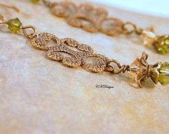 Olive Green  Beaded Earrings, Swarovski Crystal and Brass Dangle Pierced or Clip-on  Earrings. OOAK Handmade Earrings. CKDesigns.US