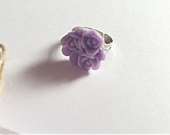 Flower Ring - Adjustable Ring - Kitsch Ring - Flower Jewelry - Gift For Her - SALE