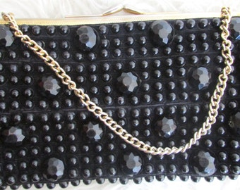 Vintage 1960's Small Black Beaded Clutch
