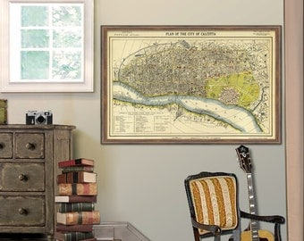 Old map of Calcutta - Old city plan -  Old map print