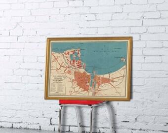 Cherbourg map - Old map of Cherbourg print - La carte de Cherbourg -  Fine reproduction