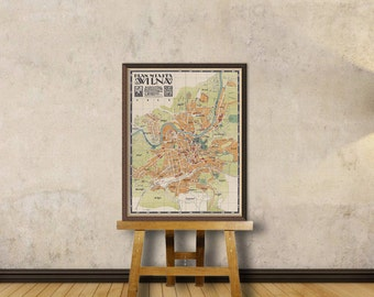 Wilna map - Old map of Vilnius (Lithuania) - Vintage map restored  - Archival print