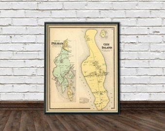 Old map of  City Island  - Peham map - Old maps prints