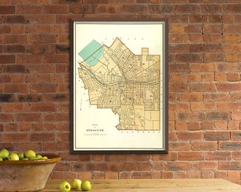 Syracuse map -   Old map of Syracuse - fine reproduction