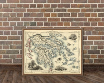 Greece map - Vintage map of Greece  - Old map fine reproduction