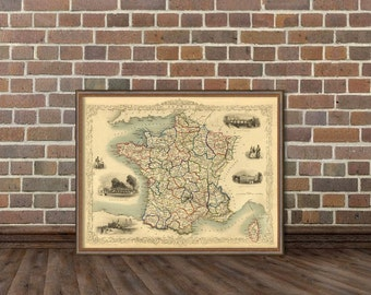 France map  - Old map of France - Giclee reproduction  - 16 x 21""
