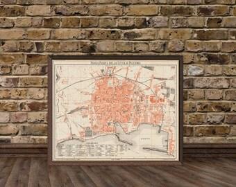 Palermo map - Mappa della città di Palermo - Old map of Palermo print