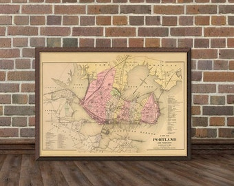 Old map of  Portland  - City map print - Portland map archival reproduction