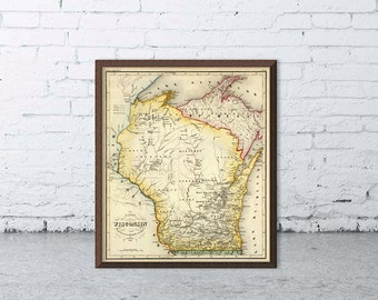 Wisconsin map - Old map of Wisconsin fine print