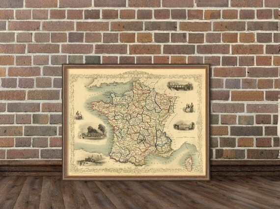 """France map  - Old map of France - Giclee reproduction  - 16 x 21"""""""