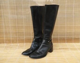 Vintage 1980's Black Leather Riding Boots Size EUR 37 US Woman 6 1/2
