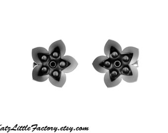 Pair Small Cyber Flowers in Silver Grey and Black PVC hair clips
