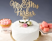 Gold Mr Mrs Cake Topper - Custom Cake Topper for Wedding Cake - Last Name - Daydream Collection