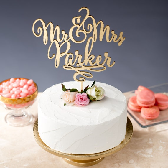 Gold mr mrs cake topper custom cake topper for by betteroffwed for Bj custom designs