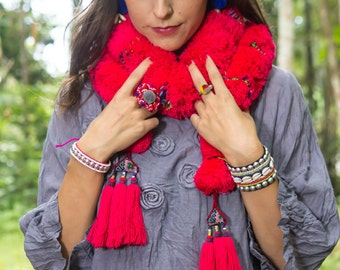 Pompom Scraf/Mien Scarf /Yao Scarf/Tribal/Ethnic - MADE TO ORDER/Whole Sale