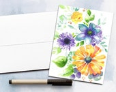 Watercolor Greeting Card, Watercolor cards, Floral note card,  Note card, Blank watercolor card, Blank Note card, Blank Cards