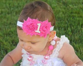 First Birthday Headband  - 1st Birthday Party -  First Birthday Girl