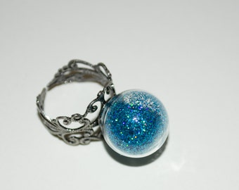 Glass Ball Ring, Statement Ring, Glass Globe, Turquoise Glitter Globe Ring, Cocktail Ring, Adjustable Ring, Glitter Ring, Glass Ball Jewelry