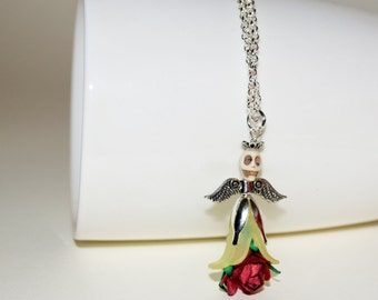 Guardian Angel Necklace, Angel Skull Necklace, Dia De Los Muertos, Flower Skull Necklace, Day of the Dead Skull Jewelry, Rose Skull Necklace