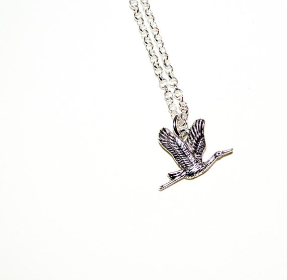Flying Crane Necklace, Bird Necklace, Crane Charm Necklace, Oriental Bird Jewelry, Silver Bird Charm Jewelry, Bird Pendant, Crane Jewelry