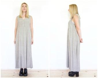 Sleeveless Grey Baby Doll Sundress / Minimal Maxi Dress