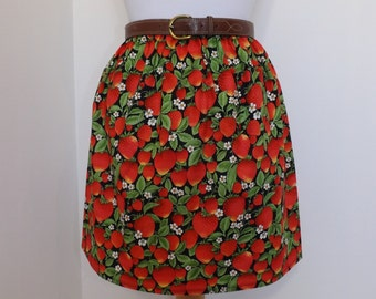 Handmade high waisted summer skirt made with strawberry red fruit flower floral fabric
