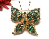 Huge Green Rhinestone Butterfly Brooch Winged Figural Fashion Jewelry