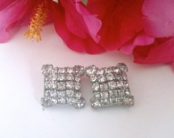 Square Rhinestone Clip Earrings Brides Vintage Fashion Jewelry