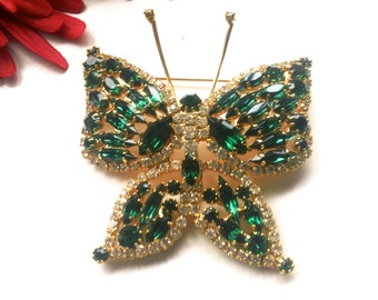 Huge Green Rhinestone Butterfly Brooch Winged Figural Fashion Jewelry