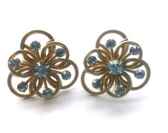 Scrolled Blue Rhinestone Earrings Vintage Style Rhinestone Fashion Jewelry