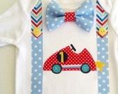 Racing Car Theme Baby Boy 1st Birthday Boy Bow Tie Onesie All In One One Piece Bodysuit