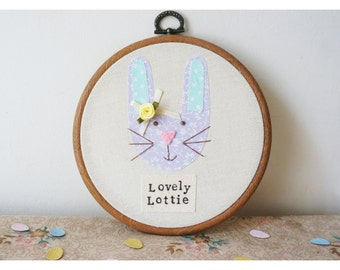 Personalised Bunny rabbit embroidery hoop