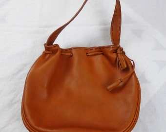 Vintage 1960s Roger Van S. Leather Hobo Purse 1970s like new condition!
