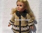 Crochet Pattern 128 - Crochet Jacket Pattern for 18 in Doll - Crochet Patterns - Winter Doll Jacket for American Girl - 18 in Dolls Outfit