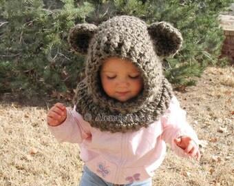 Crochet Pattern 120 - Crochet Cowl with Ears - Hooded Cowl Crochet Pattern - Wolf Cowl - Fox - Cat  - Bear - Animals Hat  Winter Neck Warmer