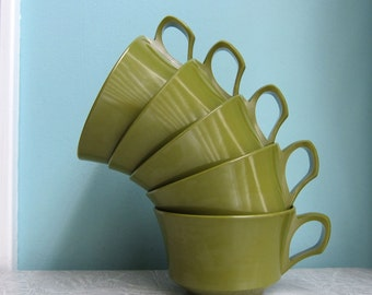 Avocado Green Melmac Cups - Melamine Cups - Allied Chemical