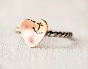 Silver and Copper Anchor Heart Ring - Nautical Jewelry - Hand Stamped - Navy - Made in Florida - Sterling Silver and Copper Ring