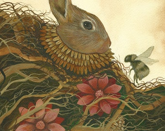 """The Rabbit and the Bee // 5""""x7"""" Art Print - Forest Illustration"""