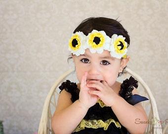 Felt Garland Headband, White Felt Flower Headband, Wool Felt, Halo Headband, Baby Toddler Girls, Flower Girl, Wedding, Photo Prop