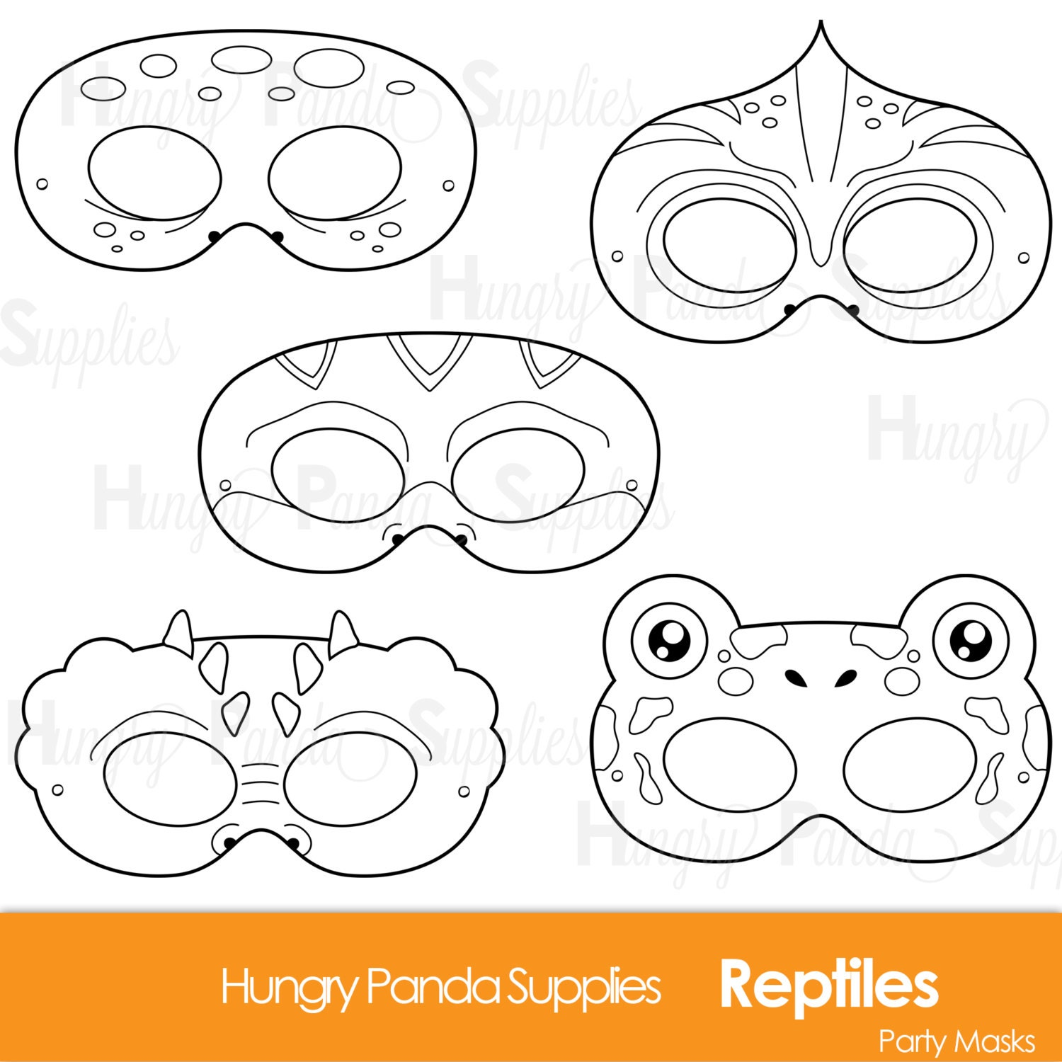 Reptile Printable Coloring Masks lizard mask turtle
