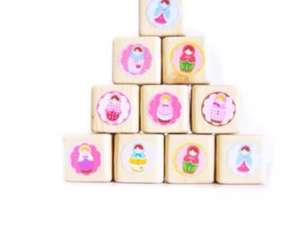 Matryoshka Doll. Kids Stacking toy. Pink. Baby / Children. Building blocks. eco friendly gift. Wood blocks. Girl. Russian. Nursery decor.