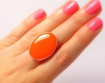 Statement Ring, Orange, Silver, Oval Ring, Cocktail Ring, Rings for Women, Adjustable, Resin Ring, Statement Jewelry, Big Ring, Orange Ring